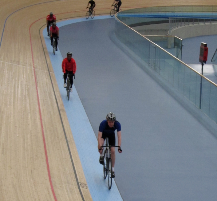 Riding on the 'côte d'azur', the light blue strip that is part of the track, but not steeply banked on the bends.