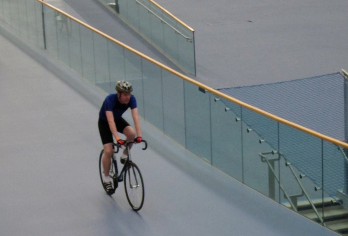Riding around for the first time, on the 'safety zone', the blue flat bit.