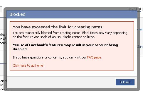 I have been blocked from making Facebook notes - Dave Walker